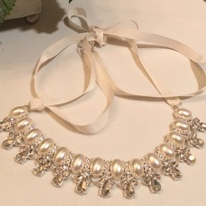 Beautiful Pearl & Crystal Ribbon Necklace